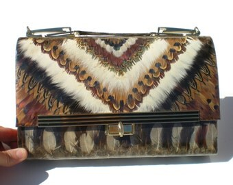 60s Vintage Pheasant Feather Handbag Purse Long Shoulder Strap Brown White and Gold Made in Korea Retro - Vintage Accessory