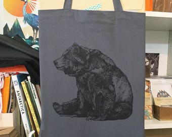 BEAR //  Screen Printed Tote Bag / Dark Grey