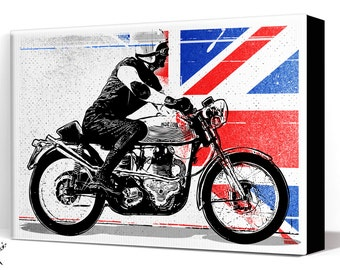 Motorcycle Art- vintage Cafe Racer - Canvas Art Print, Cafe Racer art, Pop Art, Union Jack, Motorcycle Decor, Man Cave Art, Motorcycle Gift