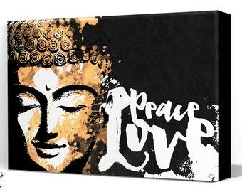 Buddha Art, Canvas Art Print, Zen Buddha art print, Large Canvas Wall Art, Meditation decor, Zen art, Gold Buddha art, House Warming Gift