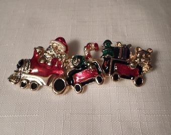 CHRISTMAS BROOCH / Pin / Enamel / Gold / Santa / Train / Holidays / Seasonal / Mid-Century Modern / Retro / Chic / Unisex / Kitsch Accessory