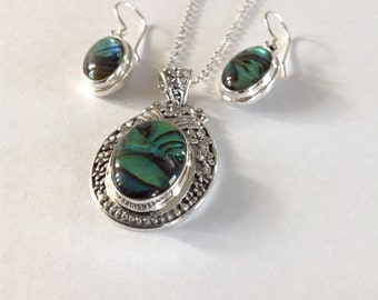 Pendant abalone necklace, abalone necklace, abalone jewelry, pendent necklace, green abalone pendant, Bali silver necklace, pearl necklace