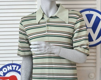 Vintage Men's Shirt/60's 70s Atomic Rockabilly Hipster Swag/Short Sleeve Knit Pullover/Shades of Green Stripes/3 Button Front Medium
