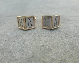 "1950s fake-monogram ""HA-HA"" cufflinks, actual vintage monogram on Hickok brand cufflinks, novelty cufflinks joker initials letters monogram"