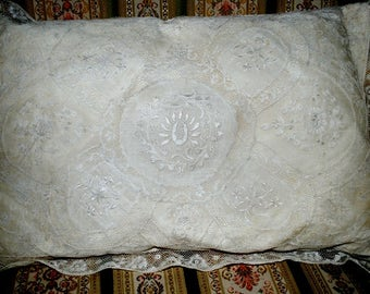 Antique French BOUDOIR PILLOW embrodery and Normandy LACE - Antique pillow boudoir style - Embroidered french pillow - Boudoir silk pillow