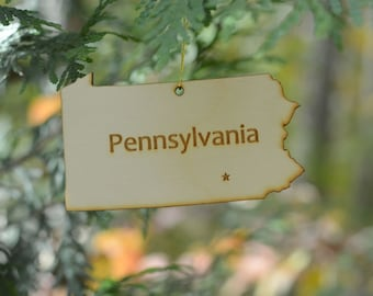 Natural Wood Pennsylvania State Ornament
