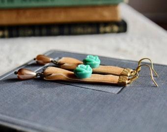 Light buckskin velvet earrings with turquoise rose and ivory drop pearls, Maple Grove