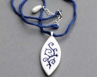 "Porcelain handmade pendant Necklace ""Ornamental"", Blue pattern White Porcelain pendant necklace, gift for her, Dark Blue silk cord necklace"