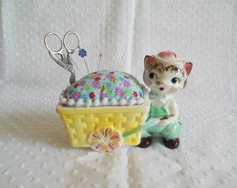 Porcelain Cat with Pushcart Basket Wagon Pincushion made from vintage 50s planter with scissors - Grant Crest - upcycled recycled repurposed