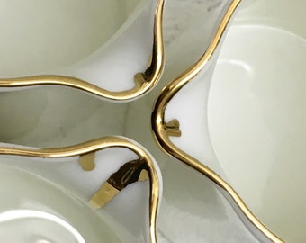 Gold drip bone china half pint pitcher