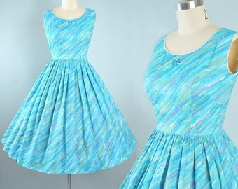 Vintage 50s Dress / 1950s Cotton Sundress Multicolor Rainbow Rays Stripe Blue Green Purple Full Skirt Picnic Garden Picnic Party XS Small