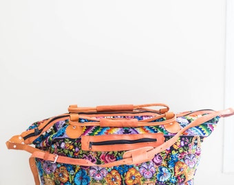 large duffel multi color embroidered ethnic travel bag - luggage weekender - overnight bag