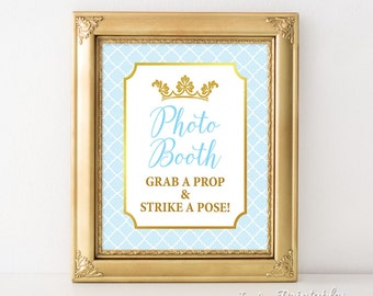 Photo Booth Sign, Prince Party Sign, Light Blue & Gold, Baby Boy Shower, 2 Sizes, DIY Printable, INSTANT DOWNLOAD