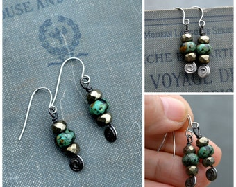 African Turquoise Earrings, Dangle Turquoise Earrings, Great Movement, Turquoise & Pyrite Earrings, Boho Chic, Turquoise Bead Earrings (2720