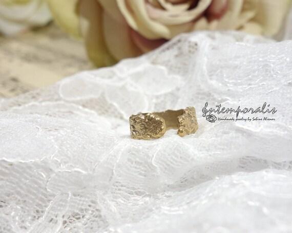 Adjustable bronze ring, nature pattern, OOAK, SABA63