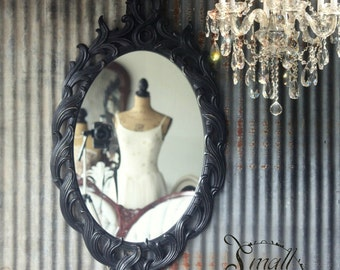 Black Chic Hollywood Regency Glam Mirror Modern Beach Chic