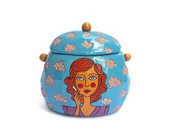 Ceramic box, vintage lady smoking a cigarette inspired by Rene Magritte