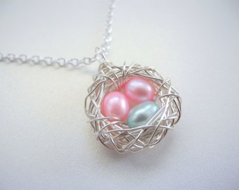 Bird Nest Jewelry, Two Pink and One Blue Cultured Freshwater Pearls Wire Wrapped Necklace, Three Eggs in a Nest, Two Girls and One Boy