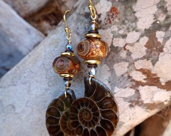 Mermaid's Favorite Agate and Gold Ammonite Fossil Dangles