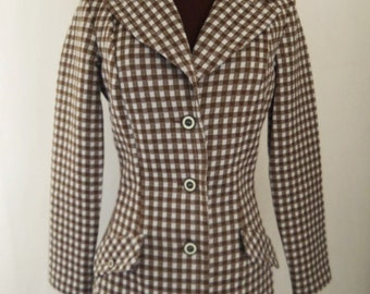 Vintage 70's Women's Jacket Blazer Brown and White Checked Size S / 6