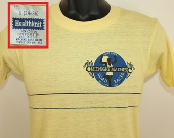 Midnight Madness Road Races Ames Iowa vintage t-shirt XS yellow 80s 1984
