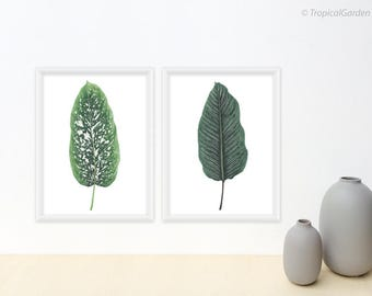 Tropical Leaf, Watercolor Print Set - Set of 2 Prints, Tropical Leaf Prints / 8x10 OR 8x11 Botanical Prints, Modern Minimalist