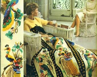 BERNAT AFGHANS Handicrafter Book 132 Vintage 1960s Knit & Crochet Patterns