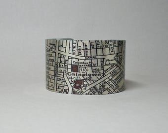 Chinatown Tribeca New York City NYC Manhattan Street Map Cuff Bracelet Unique Gift for Men or Women
