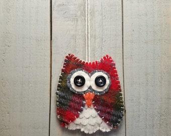 Owl Ornament- Plaid Wool Felt