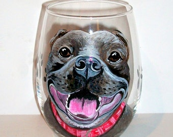 Pit Bull One 21 oz.  Stemless Wine Glass Hand Painted Personalized Pet Dog Cat Horse Rabbit Pet Lover Memorial Gift Paw Prints