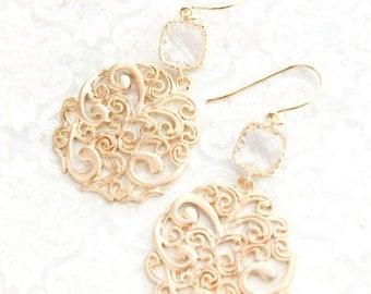 Gold Filigree Earrings Clear Glass Jewel Earrings Long Dangle Earrings Modern Womens Jewelry Boho Paisley Swirl Lace Bridesmaids Gift