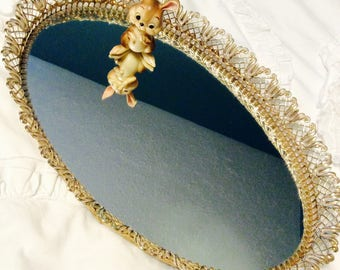 """Vintage Gold Filigree Dresser Mirror Tray Vanity Tray 14.5"""" Tulip Gold Plated Footed 1960s"""