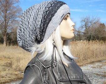 Extra Long Dread Tam Hat Merino Wool  Knit Slouchy Beanie Dreadlock Tam Black Gray Oversized Winter Hat  A1876