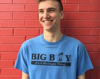 "FREE SHIPPING!: Vintage Men's ""Big Boy - It's A Michigan Thing!"" Cotton Short Sleeve T-Shirt"