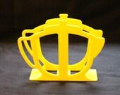 Vintage Yellow Plastic Teapot Napkin Holder