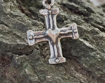 NEW ~ 1 Artisan Sterling Silver Double Cross Charm with Puffed Heart Center  18.25mm - AC61