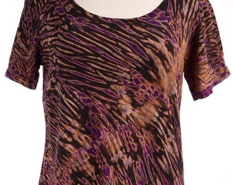 L Shibori Women's Scoop Neck Tie Dye T Shirt Purple Black Large