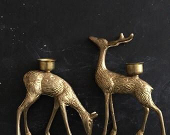pair of brass reindeer candle holders // gold deer candlesticks / original box