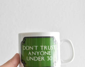 vintage white green ceramic haters coffee mug / funny quote / birthday gift
