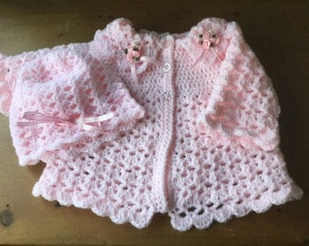 Pale Pink Lacey Crochet Baby Cardigan and hat