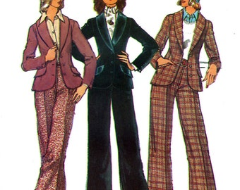 Simplicity 5955 Vintage 70s Sewing Pattern for Misses' Jacket and Pants - Uncut - Size 10 - Bust 32.5