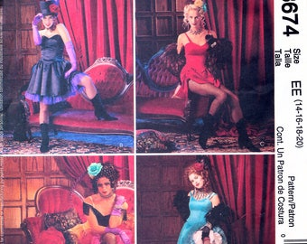 McCall's 3674 Sewing Pattern for Misses' Can-Can Saloon Girl Costumes - Uncut - Size 14, 16, 18, 20