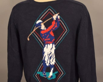 Vintage VTG Ugly Golf Crewneck Sweater Navy Blue Medium Cotton