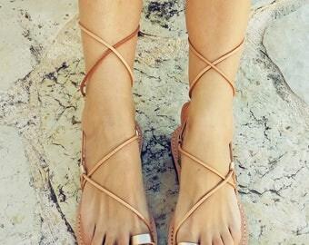 Gold Lace up Sandals, Gladiator Sandals, leather Sandals, ancient greek