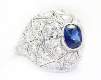 4.60tcw Vintage Sapphire & Diamond Ring 1900's, Sapphire Diamond Cocktail Ring, Septembers Birthstone, Great Gatsby Sapphire, Vintage