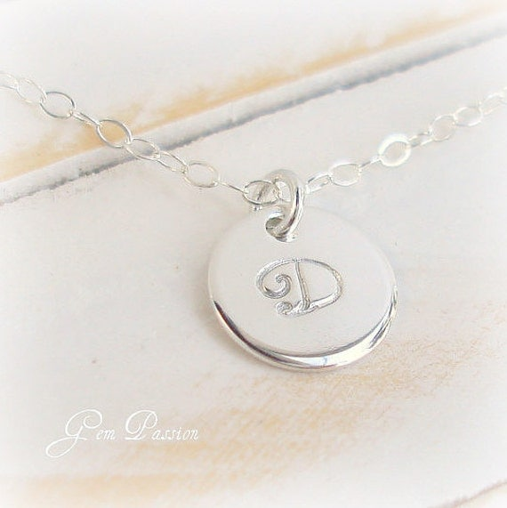 Personalized Sterling Silver Initial Disc Monogram Necklace, Handmade, Hand Stamped 3/8ths inch Thick 20 Gauge