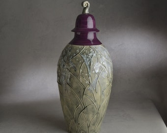Lidded Jar Ready To Ship Purple and Gray Lidded Jar by Symmetrical Pottery