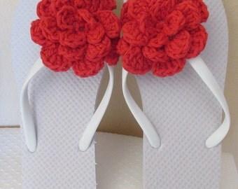 White Flip Flops, Women's Size Medium 7 - 8, Summer Flip Flops, Beach Shoes