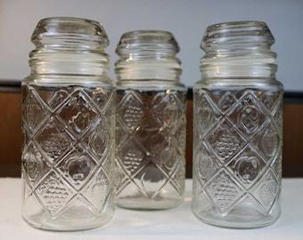 Vintage Jars - Vintage Canister Jars - Vintage Anchor Hocking Smuckers Jars with Lids