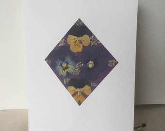 Pansy - Diamond Pansy Card, April Birthstone, Blank Pansy Diamond Greeting Card for April Birthday, Anniversary  or Wedding